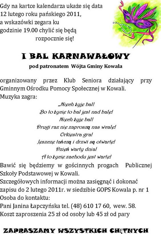Zaproszenie Na Bal Karnawałowy Aktualności Urząd Gminy W Kowali