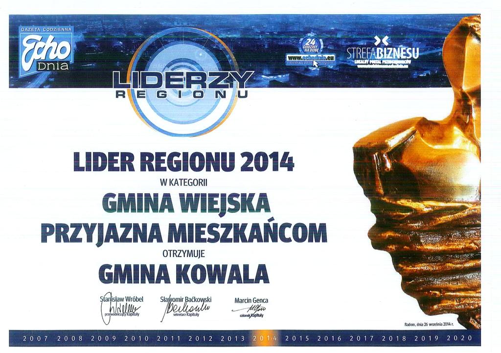 "2014-10-20 <br> Kowala ztytułem ""LIDER REGIONU 2014"""