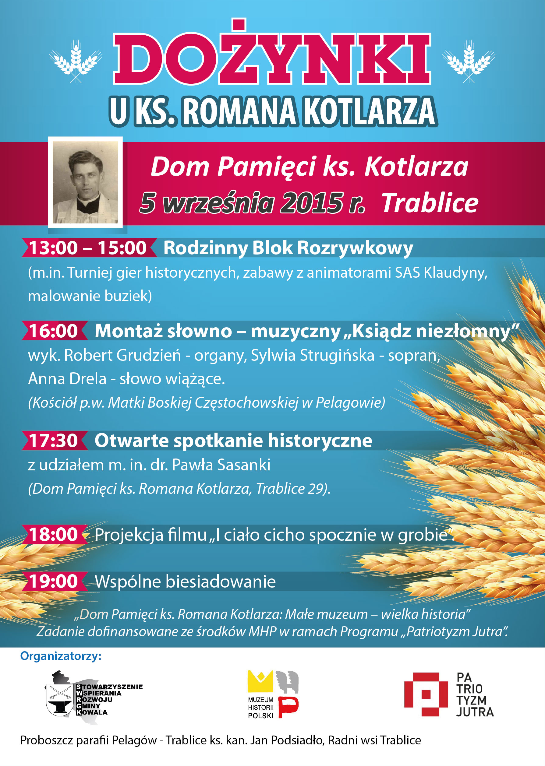 Zaproszenie na Dożynki uks. Romana Kotlarza